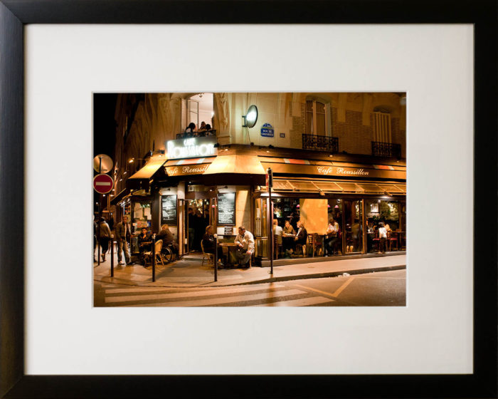 Cafe Roussillon at night, Paris. Framed photography print.