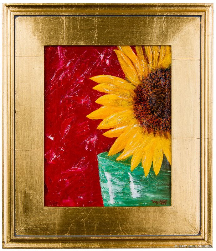 "Sunflower, 2013, in a gold frame. Oil on canvas panel. 10"" x 8""."