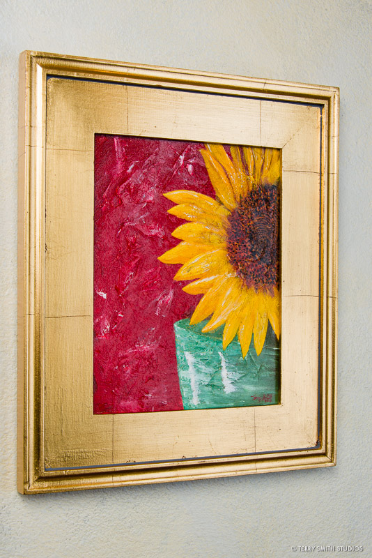"Sunflower, 2013, with a gold frame. Oil on canvas panel. 10"" x 8""."