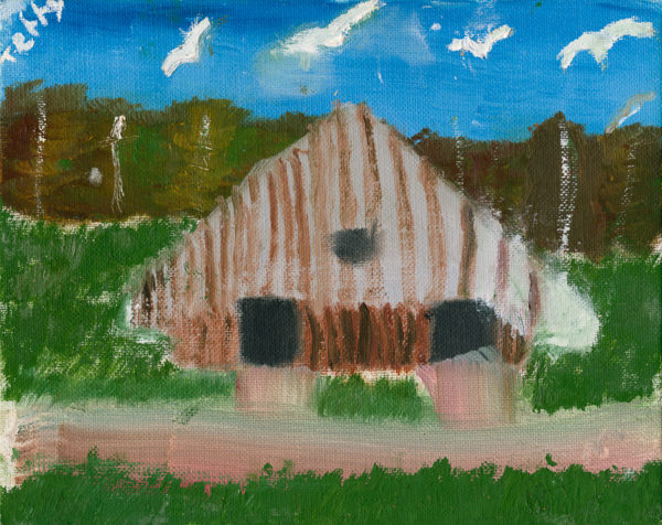 "Grandpaw's Barn. Oil on canvas board. 8""x10""."