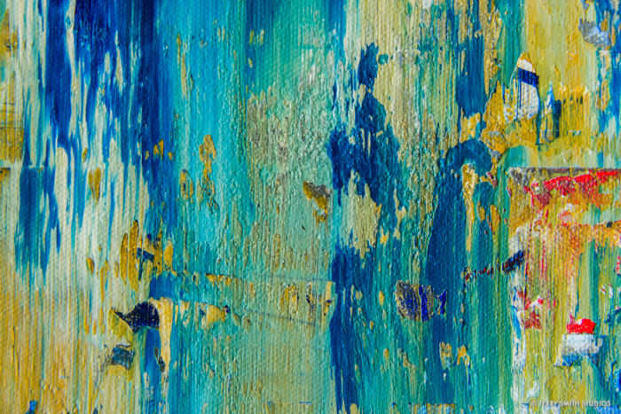 Close-up detail of Le Marais, October, In the Rain, an abstract fine-art painting by Terry Smith.