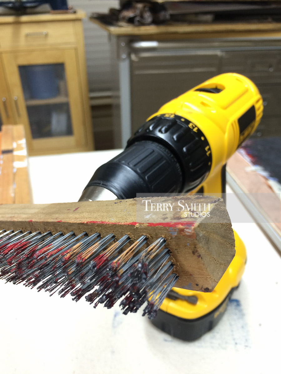 Custom-made paint brush. No. 15 Yellow Sable. Wire brush mounted on drill.
