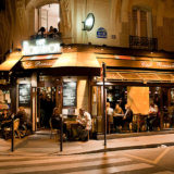 Cafe Roussillon at night, Paris by TerrySmithStudios.com