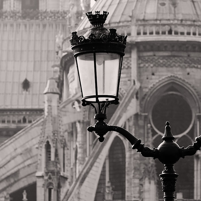 Lamp post of Notre Dame cathedral, Paris