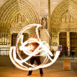 Fire performer, Notre Dame cathedral, Paris art print