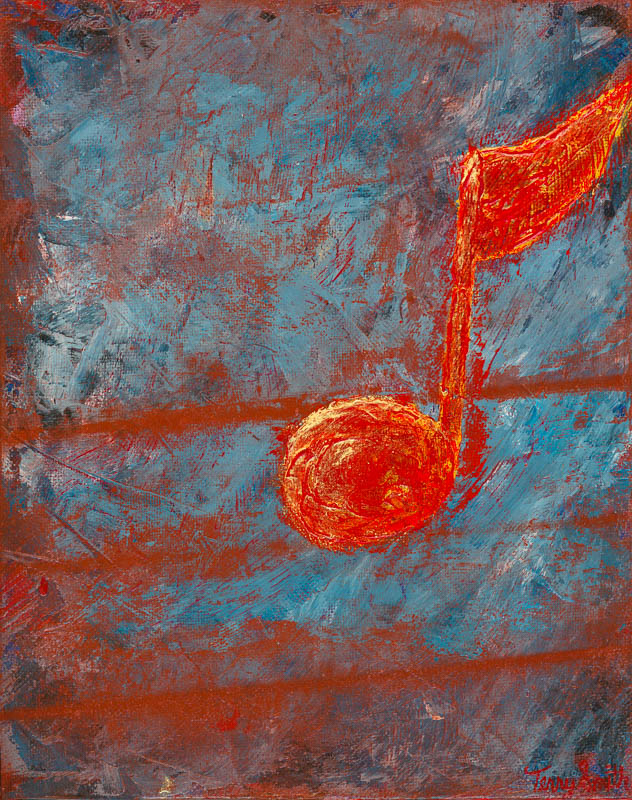 Red Note on a Sea of Blues painting by Terry Smith