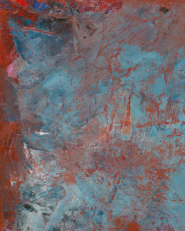 Close-up #3, Red Note on a Sea of Blues painting by Terry Smith