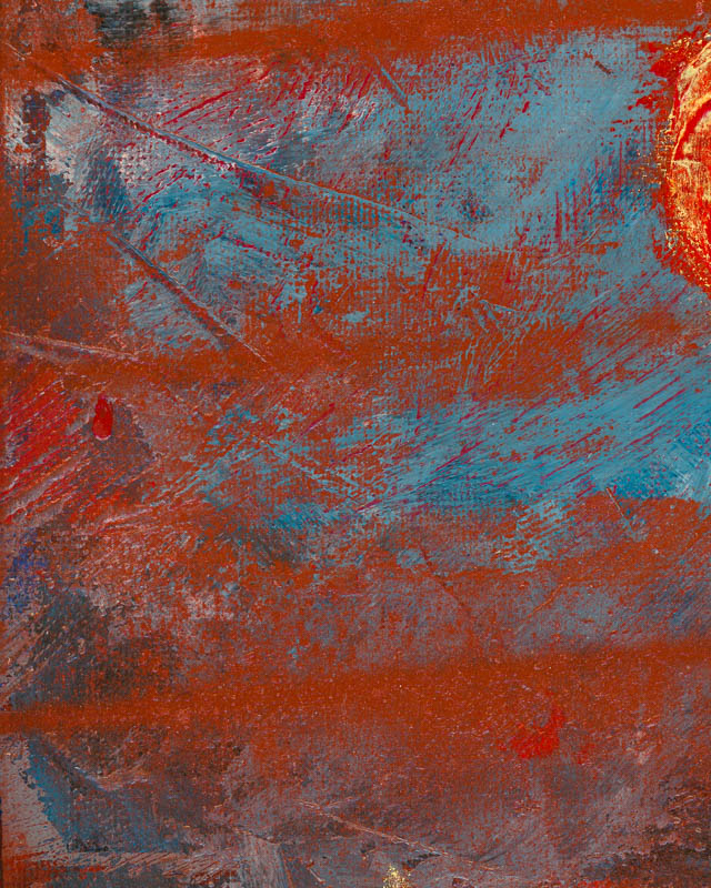 Close-up #4, Red Note on a Sea of Blues painting by Terry Smith