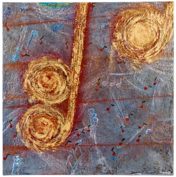 Notes of Gold contemporary art music painting