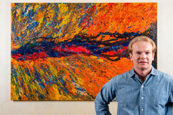 "Artist Terry Smith with painting Color Colonization, 2016. Acrylic on canvas. 40"" x 60"" x 1.5""."