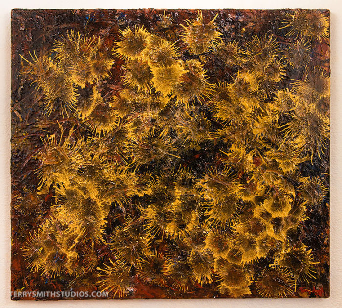 Flores de Sol, 2016, acrylic on canvas by Terry Smith Studios