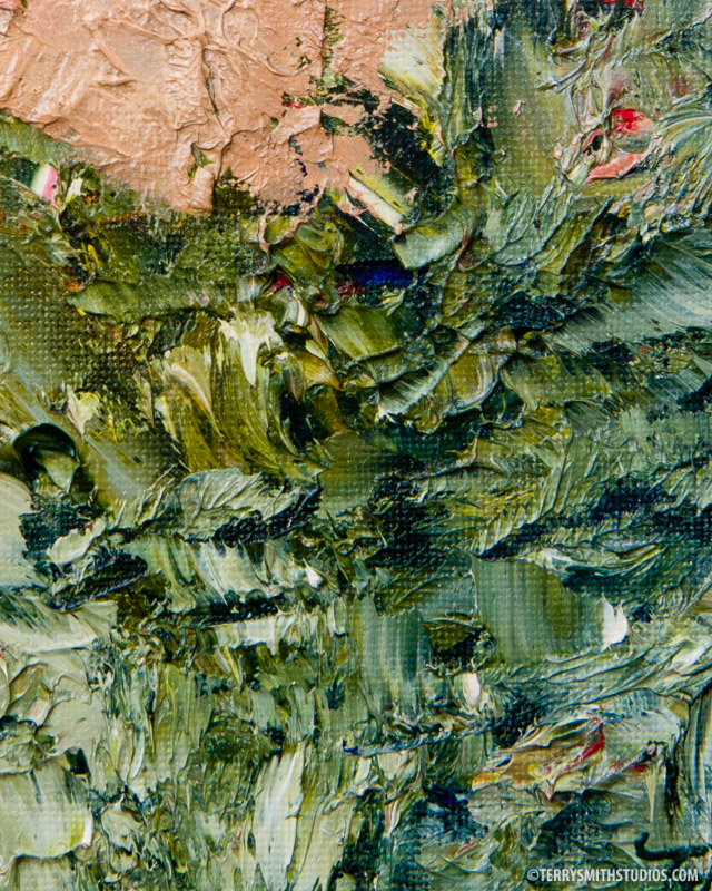 Close-up of Future So Bright, 2017 by Terry Smith. Oil on canvas board. 8x10