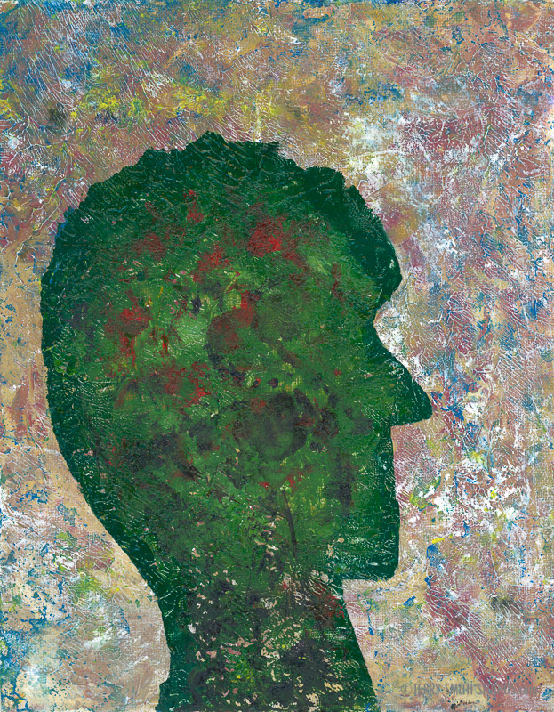 Head of a Green Person, 2017. Oil on canvas panel by Terry Smith.