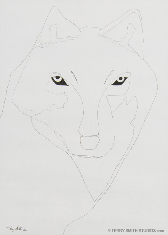 Wolf Eyes, 2000. Ink on paper drawing.